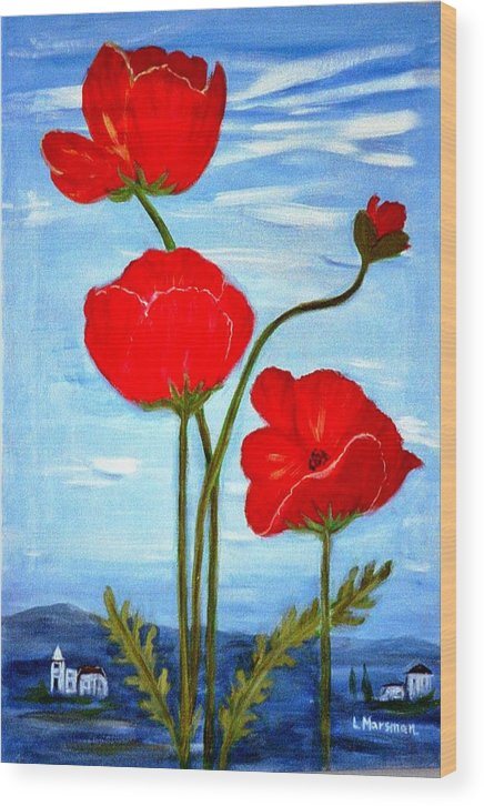 Flowers Wood Print featuring the painting Tuscan Poppies by Lia Marsman