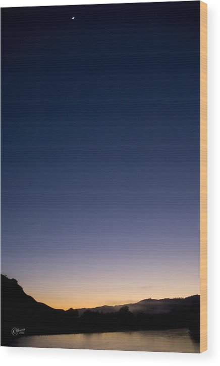 Sunrise Wood Print featuring the photograph When Lunar Met Solar by Andrea Cadwallader