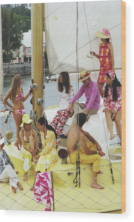 People Wood Print featuring the photograph Colourful Crew by Slim Aarons