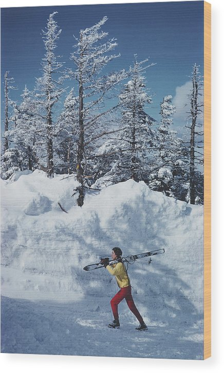 Skiing Wood Print featuring the photograph Skier In Vermont by Slim Aarons