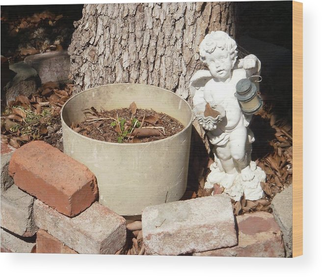 Angel Wood Print featuring the photograph A Garden Angel by Edward Wolverton