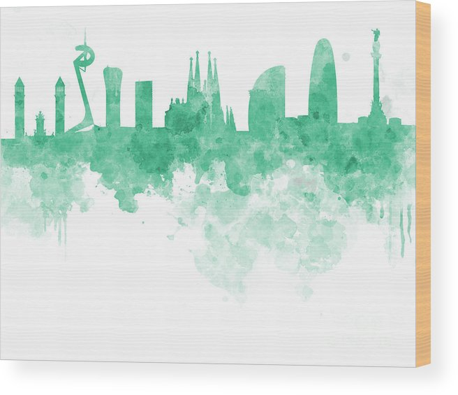 Barcelona Wood Print featuring the painting Barcelona Skyline In Watercolour On White Background by Pablo Romero