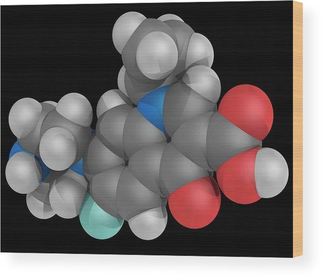 Artwork Wood Print featuring the photograph Ciprofloxacin Drug Molecule by Laguna Design/science Photo Library
