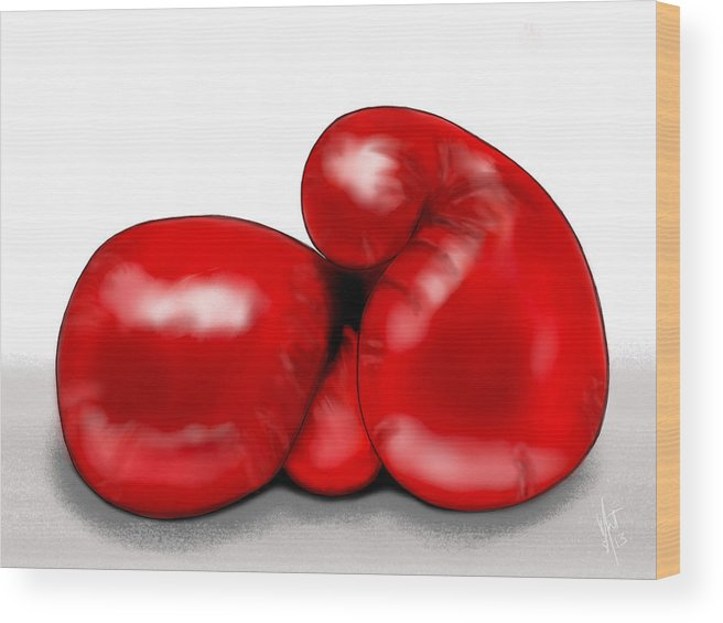 Boxe Wood Print featuring the digital art Fight Night by Mathieu Lalonde