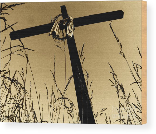 Cross Wood Print featuring the photograph He Is Risen II by Douglas Stucky
