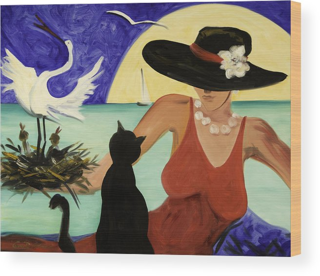 Colorful Art Wood Print featuring the painting Living The Dream by Gina De Gorna