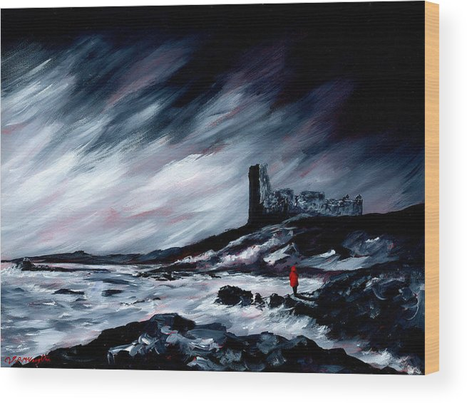 British Art Wood Print featuring the painting Dunure Red Coat by J P McLaughlin