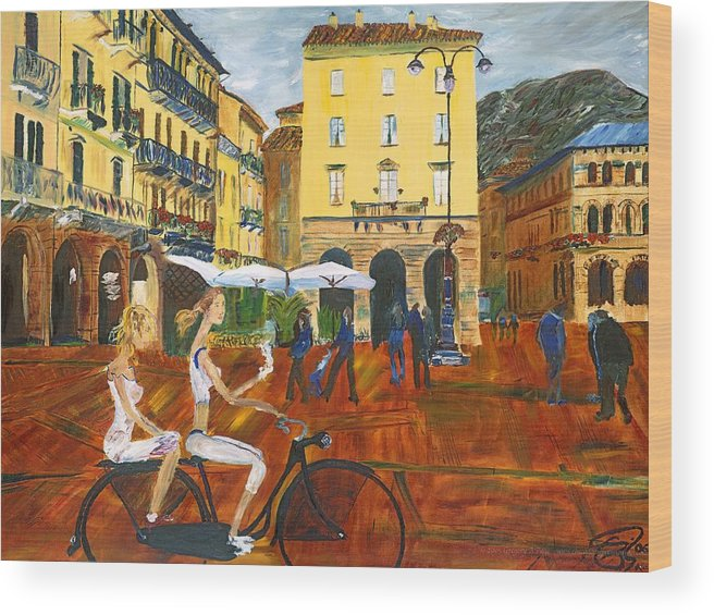 Italy Wood Print featuring the painting Piazza De Como by Gregory Allen Page