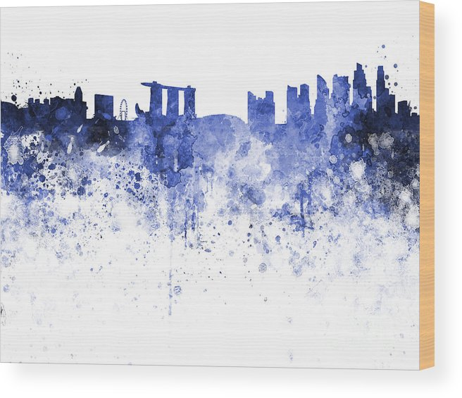 Singapore Skyline Wood Print featuring the painting Singapore Skyline In Watercolour On White Background by Pablo Romero