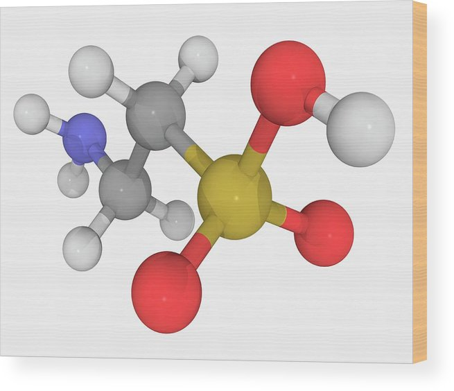 Artwork Wood Print featuring the photograph Taurine Molecule by Laguna Design/science Photo Library
