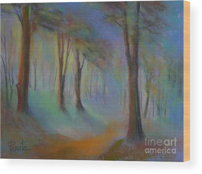 Landscape Wood Print featuring the painting Woodland by Pusita Gibbs