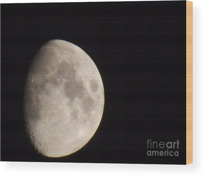 Moon Wood Print featuring the digital art 3/4 Moon by Fergus Mitchell