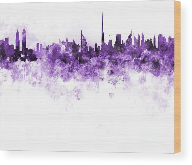 Dubai Skyline Wood Print featuring the painting Dubai Skyline In Watercolour On White Background by Pablo Romero