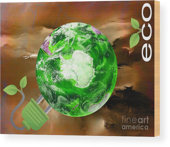Eco Wood Print featuring the mixed media eco by Marvin Blaine