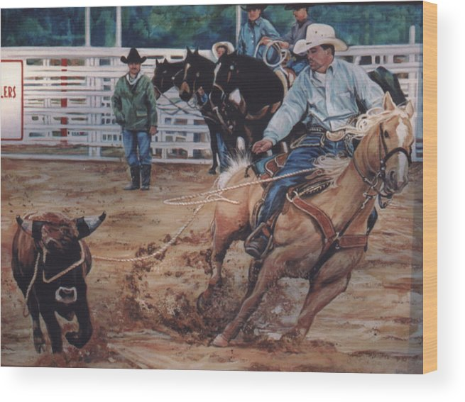 Portrait Wood Print featuring the painting South Texas Cowboy by Diann Baggett