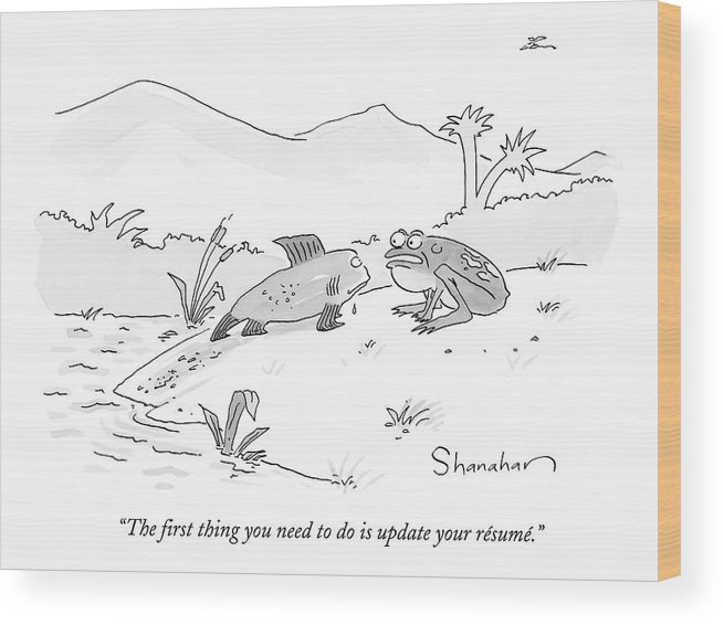 Evolution Wood Print featuring the drawing The First Thing You Need To Do Is Update by Danny Shanahan