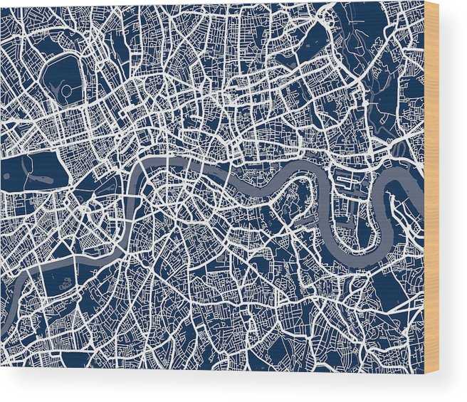 Map Of Central London To Print.London England Street Map Wood Print