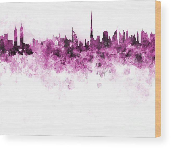 Dubai Skyline Wood Print featuring the painting Dubai Skyline In Watercolour On White Background by Pablo Romero