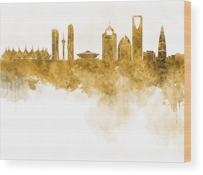 Riyadh Skyline Wood Print featuring the painting Riyadh Skyline In Watercolour On White Background by Pablo Romero