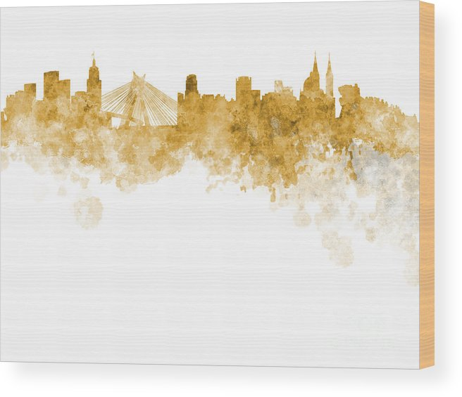 Watercolor; Background; Abstract; Paint; Color; Splash; Colorful; Art; Texture; Grunge; Paper; Ink; Illustration; Wallpaper; Bright; Vintage; Splatter; Creativity; Brazil; Sao Paulo; Southamerica; Architecture; Cityscape; Europe; Landmark; Monuments; Panoramic; Skyline Wood Print featuring the painting Sao Paulo Skyline In Watercolor On White Background by Pablo Romero