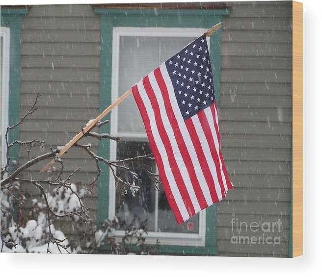 #762 D68 American Flag Winter Wood Print featuring the photograph #762 D68 American Flag Winter by Robin Lee Mccarthy Photography