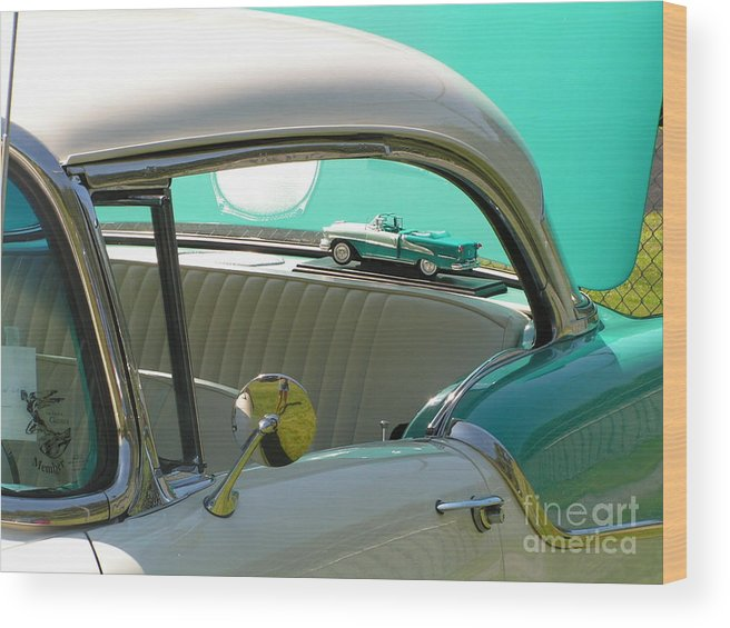 #766 D86 Mini Holiday Wood Print featuring the photograph #766 D86 Mini Holiday Oldsmobile Antique Cars by Robin Lee Mccarthy Photography