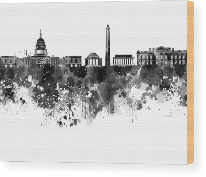 Washington Dc Skyline Wood Print featuring the painting Washington Dc Skyline In Watercolor On White Background by Pablo Romero