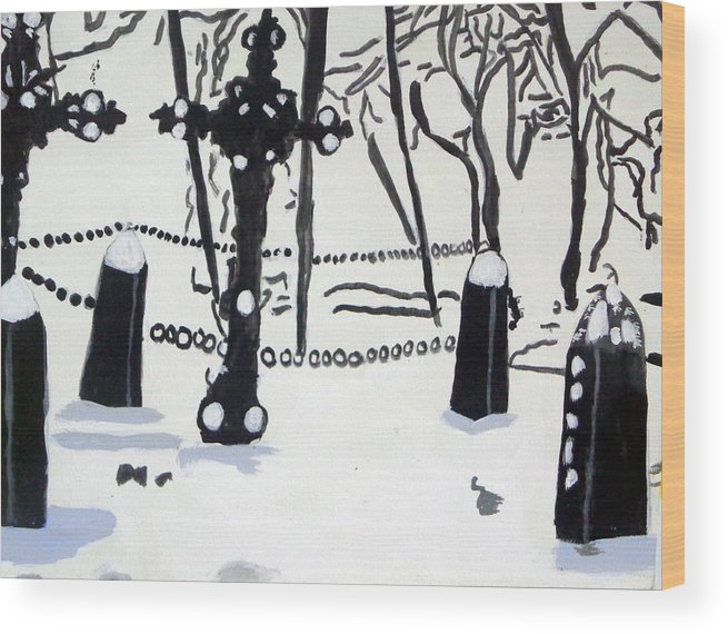Cemetery Wood Print featuring the painting A Cemetery In Winter by Olivia Hoff