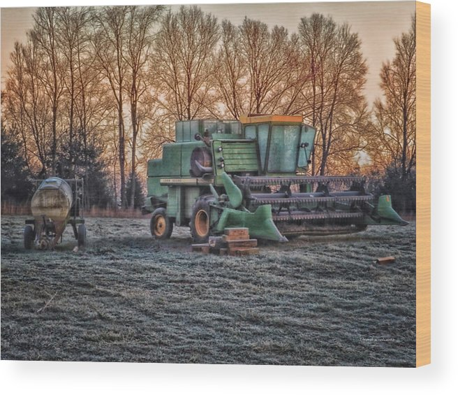 Agriculture Wood Print featuring the photograph A Frosty John Deere Turbo 7700 Combine by Thomas Woolworth