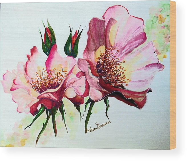 Flower Painting Wood Print featuring the painting A Rose Is A Rose by Karin Dawn Kelshall- Best