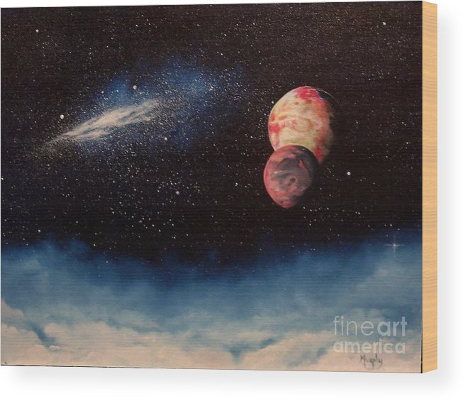 Landscape Wood Print featuring the painting Above Alien Clouds by Murphy Elliott