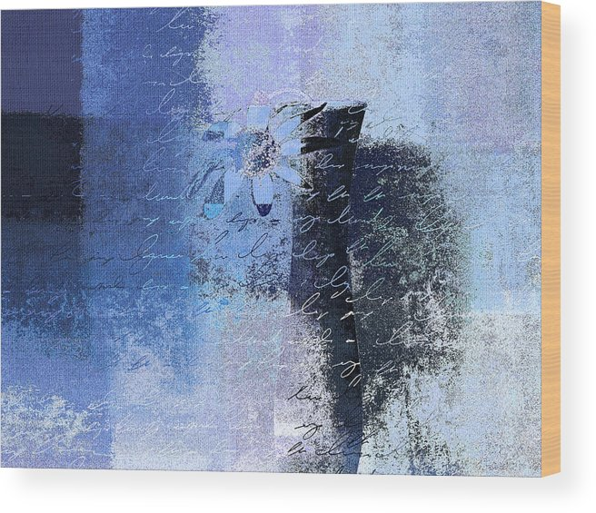 Blue Wood Print featuring the digital art Abstract Floral - Bl3v3t1 by Variance Collections