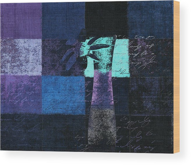 Blue Wood Print featuring the digital art Abstract Floral - H15bt3 by Variance Collections