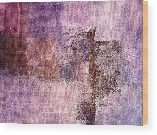 Pink Wood Print featuring the digital art Abstract Floral- I55bt2 by Variance Collections