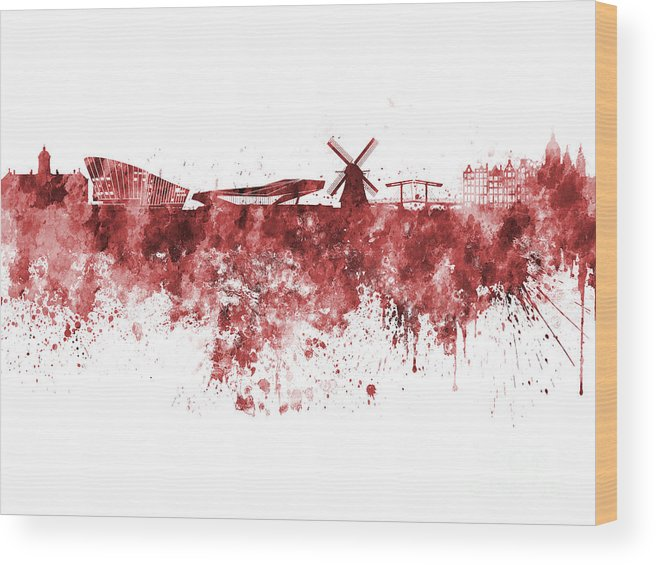 Amsterdam Skyline Wood Print featuring the painting Amsterdam Skyline In Watercolor On White Background by Pablo Romero