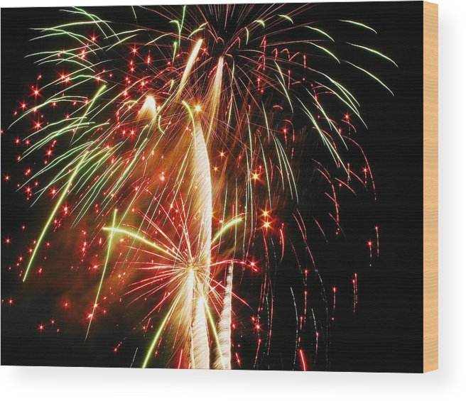 Fireworks Wood Print featuring the photograph An Eruption Of Colors by Steven Parker