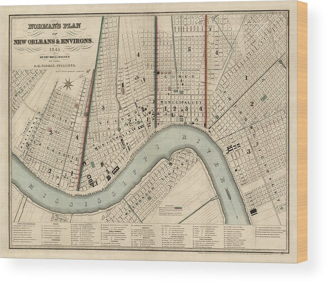 Antique New Orleans Map.Antique Map Of New Orleans By Balduin Mollhausen 1845 Wood Print