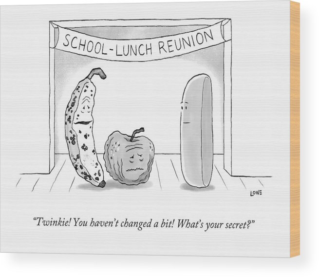 High School Reunion Wood Print featuring the drawing At A School Lunch Reunion by Christian Lowe