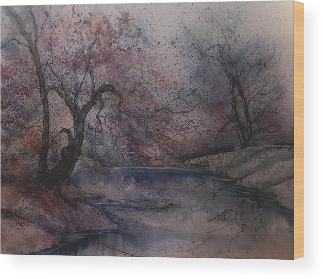 Beautiful Wood Print featuring the painting Autumn Pond by Anna Sandhu Ray