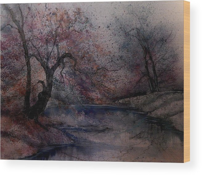 Beautiful Wood Print featuring the painting Autumn Pond IIII by Anna Sandhu Ray