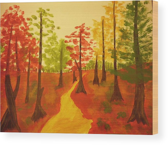 Fall Trees Wood Print featuring the painting Autumn Walk by Erica Darknell