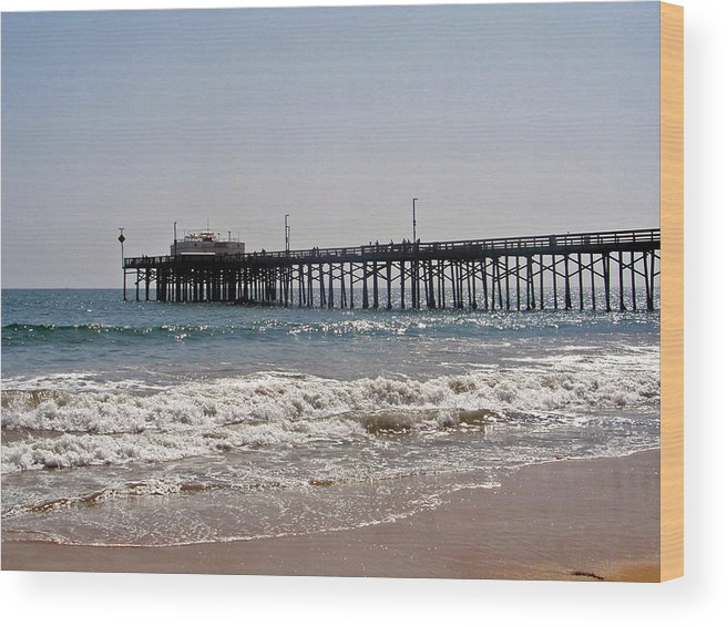 Water Wood Print featuring the photograph Balboa Pier2 by Carolyn Stagger Cokley