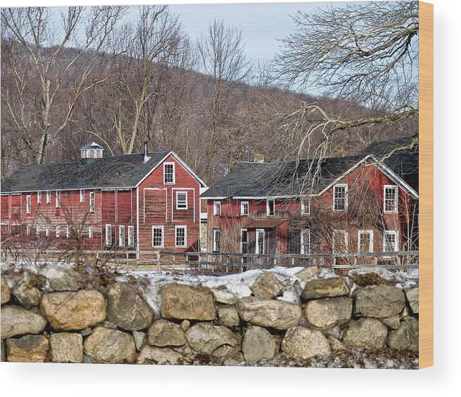 Barns Wood Print featuring the photograph Barns In Winter by Jim DeLillo