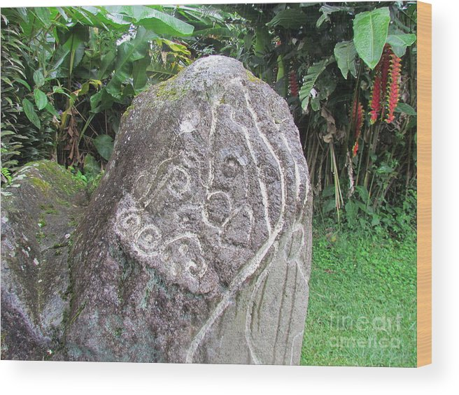 Panama Wood Print featuring the photograph Barriles Carved Stone Indian by Ted Pollard