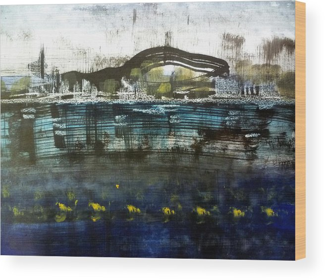 Acrylic Wood Print featuring the painting Bay Blues 006 by Aquira Kusume