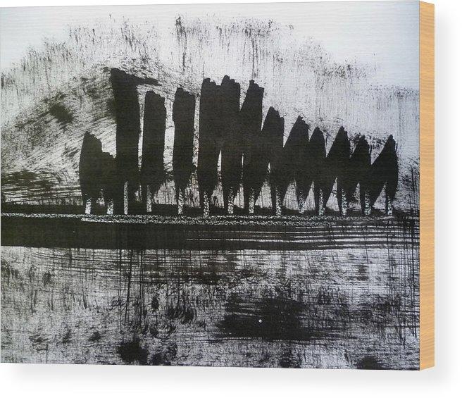 Sumi Wood Print featuring the drawing Bay Blues 171 by Aquira Kusume