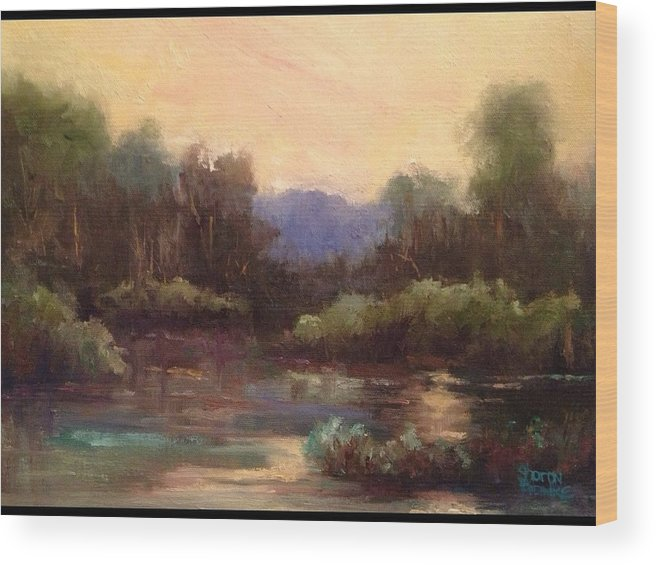 Landscape Wood Print featuring the painting Beautiful Morning by Sharon Franke