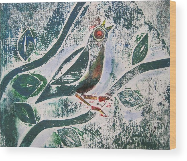 Collograph Wood Print featuring the mixed media Birdsong by Judy Via-Wolff