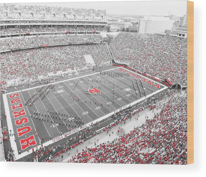 Unl Wood Print featuring the photograph Black And White And Red All Over by Caryl J Bohn