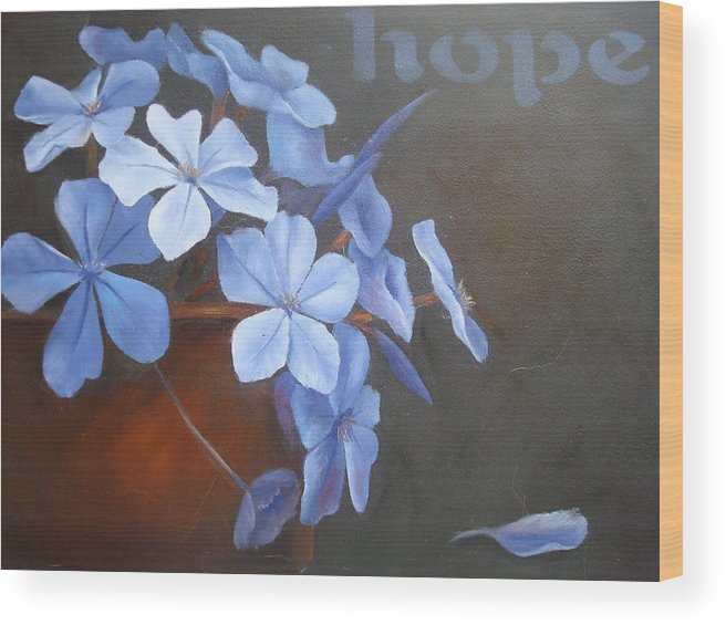 Flower Wood Print featuring the painting Blue Hope by Sharron White